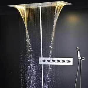 높은 품질 Mulitifunction LED 샤워 헤드 세트 천장 목욕 비, 온도 조절 높은 유량 밸브를 마사지 폭포