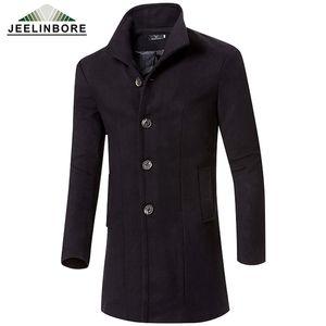 Großhandel-2016 Männer Wolle Jacken Herbst Winter Marke Männer Wollmäntel Lange Jacken Trenchcoats Herren Warmer Wollmantel Plus Größe M-3XL