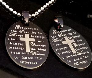 20 unids Inglés Serenidad Oración Biblia Cruz Acero Inoxidable colgante Collares W / Chains Wholesale hombres Moda Jesús Religiosa Joyería Lotes