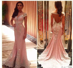 Nuovo arrivo Pink Mermaid Crystals Beading Shining Evening Dress With Sheer Back 2019 Custom Made Pageant Dress Lace Appliques