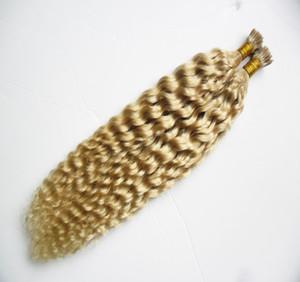 Estensione dei capelli della cheratina della bionda riccia crespo malese I Suggerimento 100g 1g / filo Pre Bonded Hair fusion capsule keratin bastone punta estensioni dei capelli