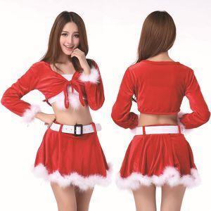 Neue maskottchen frauen weihnachten dress frauen weihnachten dress sexy damen red santa kostüm frauen frau party phantasie herbst winter dress