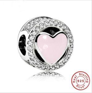 2017 Promoción Real Auténtica Plata de Ley 925 Charm Beads Fit Pandora Original pulsera diy Rosa corazón blanco CZ pulsera Joyería