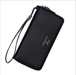 Fashion Men's long wallet Lychee Pattern Zipper Clutch Bag European and American Men's pu leather Wallet Purse