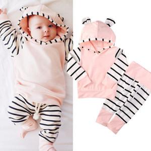 2016 haute qualité filles mignonnes costumes 0-2Y vêtements de bébé fille nouveau-né à capuche T-shirt rayé à manches + pantalon en coton 2pcs tenue décontractée
