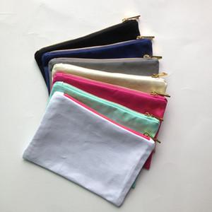DIY 인쇄 골드 지퍼 골드 라이닝 1 개 12온스 빈 코튼 캔버스 화장품 가방은 7 색 6 * 9 인치 캔버스 화장품 가방