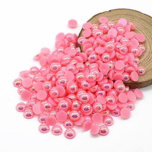 Imitazione semicircolare perla rosa scuro AB colore ABS perline Flatback Abbellimenti per la decorazione fai da te, 500-5000pcs / pack
