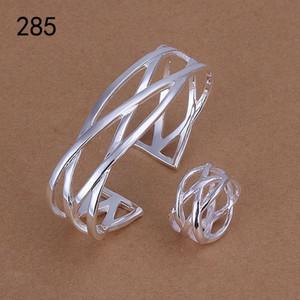 vente même ensemble de bijoux en argent sterling de femmes style mélange plaqué, tout nouveau mariage mode 925 bijoux en argent Bracelet bague sertie GTS44a