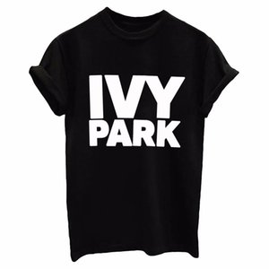 IVY PARK Donna Uomo T / Camicia di cotone casuale divertente allentato Bianco Nero SUPERA IL T Hipster Via Nuova 2017