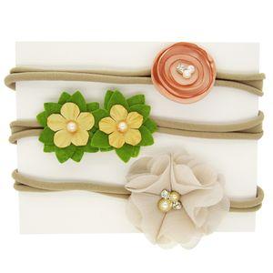 Fasce per bambini Fiore 3 pezzi Set Ragazze Nylon Chiffon Perle Fasce elastiche Moda Strass Boutique Fasce Accessori per capelli KHA541
