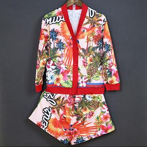 2017 Milan coconut tree Imprimir Camisas Y Pantalones Cortos Tops y Faldas de las mujeres de Moda 2 Unidades Conjuntos Mujeres 100103