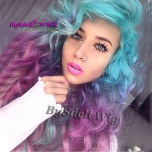 Сексуальный единорог красочный Русалка стиль парик синтетические пастельные лед синий ломбер фиолетовый цвет глубокий вьющиеся волны волос нет парик кружева/ парик фронта шнурка