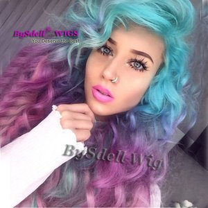 Seksi unicorn Renkli Mermaid Stil Peruk Sentetik Pastel Buz mavisi ombre mor renk Derin Kıvırcık Dalga Saç Yok Dantel Peruk / Dantel Ön Peruk