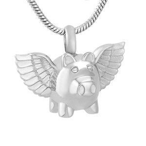 IJD9732 Flying Pig 316L Edelstahl Feuerbestattung Anhänger Halskette Begräbnis Asche Andenken Urn Memory Halskette