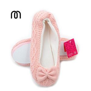 Millffy güzel fantezi bale daireler terlik kızlar örgü kumaş terlik ayakkabı ev kapalı kat bayan terlik