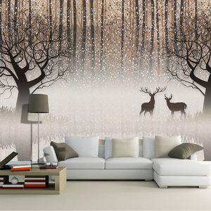 Fotomural Vintage Nostálgico Bosque Oscuro Alce 3D TV Telón de fondo Pintura decorativa Sala de estar Estudio Restaurante Hall Wallpaper