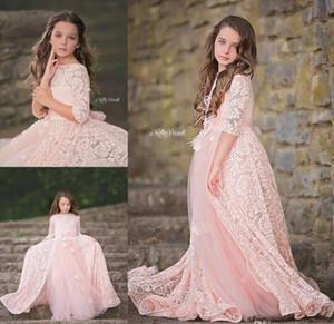 Adorable dentelle rose fleurs robes de filles avec la jupe longue manches longues appliques perlée de Noël robe de reconstitution historique étage longueur fille de fleur