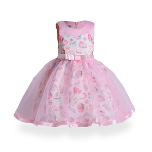 2017 childrens icecream evening princess dresses kids party clothes baby girls high quality clothing toddler fashion dress for 100-150cm