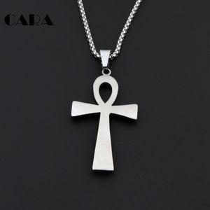 CARA Nouvelle Arrivée Égyptienne Ankh Croix Pendentif collier En Acier Inoxydable 316L Chaîne crux ansata collier pour hommes CAGF0006