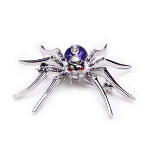 Al por mayor- Spider Animal Pin Broche con aleación púrpura Crystal Rhinestone Widow para Halloween ee