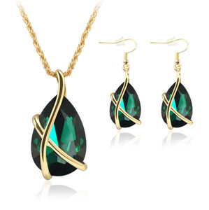 Water Drop CZ Rhinestone Jewelry Sets For Women Wedding Party Earrings Pendant Necklace set Red White Green Blue