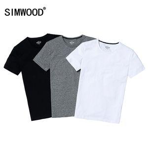 Großhandels-SIMWOOD 2017 Sommer Marke Männer Kurzarm Baumwolle dünne T-Shirt Shirt Solid Casual O-ansatz Männer Tops Tees Plus Größe TD1067
