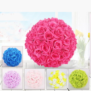 Fabric Artificial Flowers Silk Rose Pomander Wedding Party Home Decoration Kissing Ball Trendy Color Simulation Flower Ball Diameter 15CM