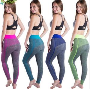 Patchwork Kadın Koşu Tayt Renkli Stripes Noktalar Spor Yoga Tayt Yüksek Bel Sıkı Seksi Spor Pantolon Yapmak Up