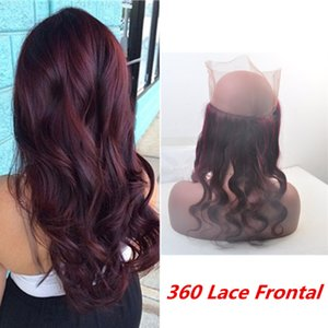 360 Lace Frontal Encerramento Borgonha Onda Do Corpo Do Cabelo Humano Brasileiro 99j 360 Lace Frontal Natural HairLine