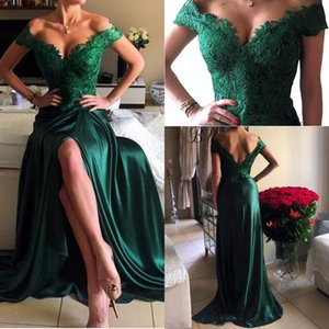 2018 Dark Green High Split Backless prom vestidos de hombro apliques de encaje Lace A Line Long Modest Vestios de fiesta vestidos de fiesta de noche