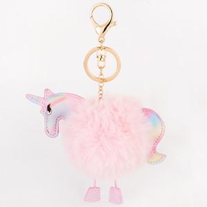Nettes New Super Einhorn Keychain Anhänger Tasche Charme-Handtaschen-Zubehör Geldbeutel Ornament Regenbogen-Pferd-Pelz-Schlüsselanhänger