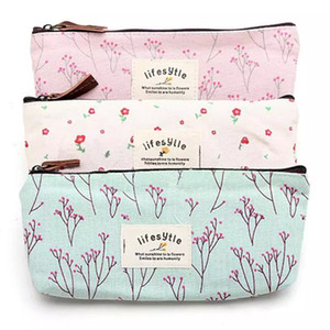 2017 горячие продажи цветок цветочный карандаш ручка холст чехол косметический макияж сумка для хранения сумка кошелек 3 стили