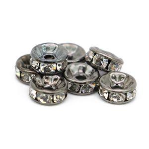 100 stücke Messing Kristall Strass Spacer Perlen 6/8/10 / 12mm Grade A Rondelle Schmuck Erkenntnisse Charme Schwarze Bleifarbe, IA01-04