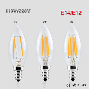 E14 E12 llevó la luz de 110V / 220V 4W llevó el filamento de la bombilla arañas con velas de luz de lámpara Lampada Led retro Edison Crystal Glass