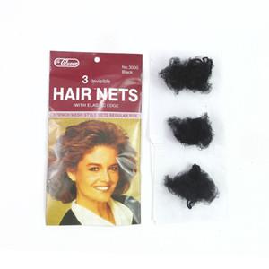 Gros-3pcs / lot filets à cheveux élastiques en nylon filets invisibles net net 20inch cheveux couleurs mélangent noir, brun foncé, brun, blonde