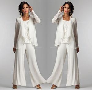 Ceket Zarif Kadın Parti Elbise Pantolon ile 2020 Fildişi Beyaz şifon Dantel Lady Anne Pantolon Suit Gelin damat annesi