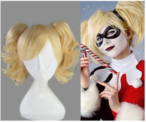 Xiu Zhi Mei vente Chaude Batman Harley Quinn Perruque Blonde D'Ore Cosplay Perruque Pas Cher Haute Température Fibre Synthétique Cheveux Costume Perruque De Fête