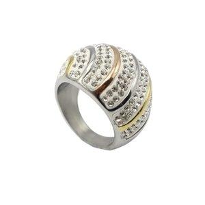 반짝 이는 크리스탈 반지 스테인레스 스틸 멀티 행 크리스탈 결혼 반지 여성을위한 패션 럭셔리 쥬얼리 클래식 반지 Bijoux