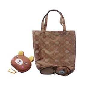 Big head cartoon folding shopping bag Eco Travel Foldable Handbags Grocery Tote Storage Reusable Animal Shopping Bags 5 Styles