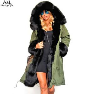Wholesale- 2016 Winter Women Warm Long Coat Jacket Faux Fur Collar Trench Coat Plus Size Casual Fur Coat Outwear