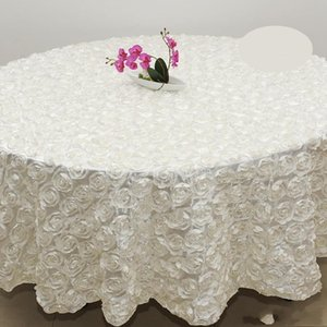 Großhandel 120 Zoll weiße Farbe Hochzeit Tischdecke Runde Overlays 3D Rose Petal Runde Tischdecken Hochzeit Dekoration Lieferant 7 Farben