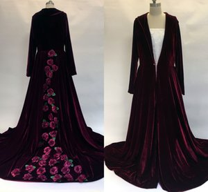 Custom 2017 Cheap Hooded Bridal Cape Burgundy Flowers Velvet Christmas Long Sleeves Wedding Cloaks Wedding Bridal Wraps Bridal Coat Jacket
