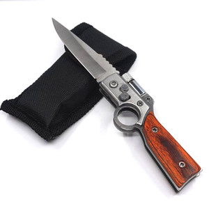 Small AK47 Gun Knife 440 Steel Blade Wood Handle Army Pocket Folding Knife Tactical Camping Outdoors EDC Tool Survival Knives With LED light