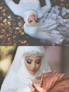 레이스와 고급 이슬람 웨딩 베일 Appliqued 가장자리와 크리스털 한 레이어 얇은 팔꿈치 길이 신부 Hijab 맞춤 제작