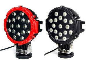 7 Inch 51W Car Round LED Work Light 12V High-Power 17 X 3W Spot For 4x4 Offroad Truck Tractor Driving Fog Lamp