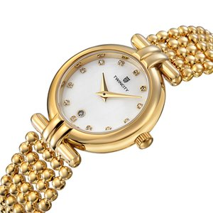 Moda stil Lüks pearl kayış elmas kabuk yüz TWINCITY kadın kuvars saatler takı kol saati otomatik tarih spor eğlence saatler