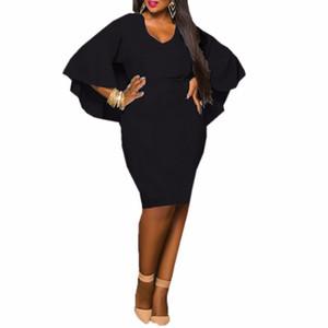 Мода черные женщины платье дамы Batwing рукавом V шеи Мыс Bodycon повязки Midi партии Vestidos плюс размер L-3XL