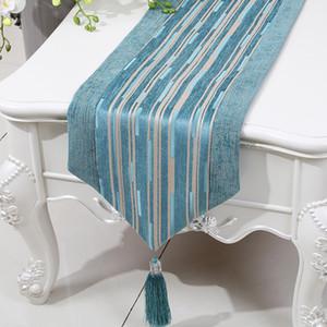 La última moda Stripe Table Runner High End tela de chenille Coffee Table Cloth Rectángulo simple mesa de comedor esteras Placemat 200 x 33