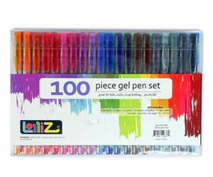 Çevre Dostu Lolliz Çocuklar Renkli Sanat 100Pcs Jel Kalemler Seti W / Bonus 12colors Yedekler Glitter Neon Sütlü Girdap Ofis Okul Malzemeleri