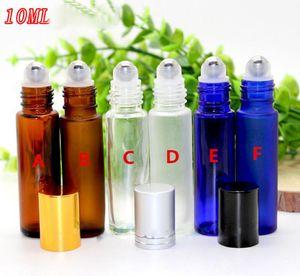 Fabrik-Preis 10ml Amber Blue Clear Roller Glasflaschen für ätherische Öle leere Roll-on Flasche Metall Rollerball 300pcs / lot von DHL